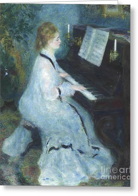 Woman At The Piano Greeting Card by Pierre Auguste Renoir