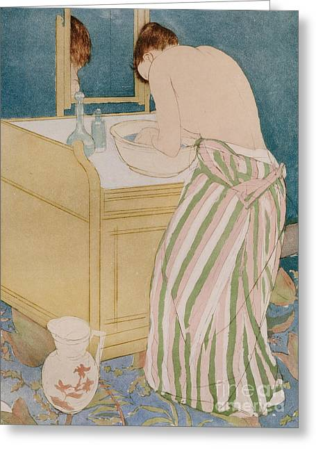 Pitcher Paintings Greeting Cards - Woman bathing Greeting Card by Mary Stevenson Cassatt