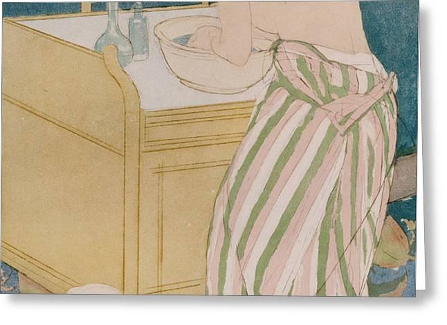 Woman bathing Greeting Card by Mary Stevenson Cassatt