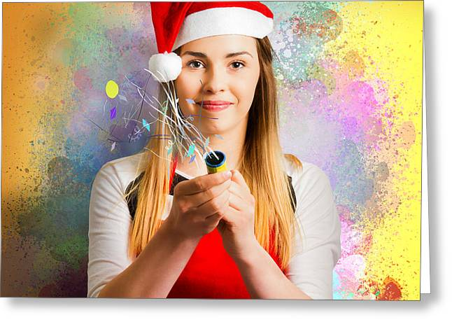 Woman Beginning The New Year With A Bang Greeting Card by Jorgo Photography - Wall Art Gallery