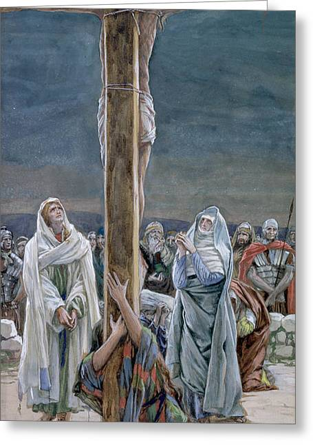 The Wooden Cross Greeting Cards - Woman Behold Thy Son Greeting Card by Tissot