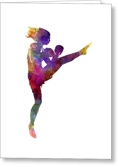 Woman Boxer Boxing Kickboxing Silhouette Isolated 01 Greeting Card by Pablo Romero