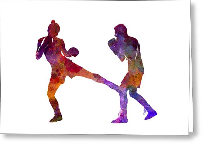 Woman Boxer Boxing Man Kickboxing Silhouette Isolated 02 Greeting Card by Pablo Romero