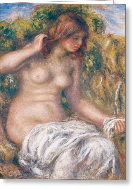 Renoir Greeting Cards - Woman by Spring Greeting Card by Auguste Renoir