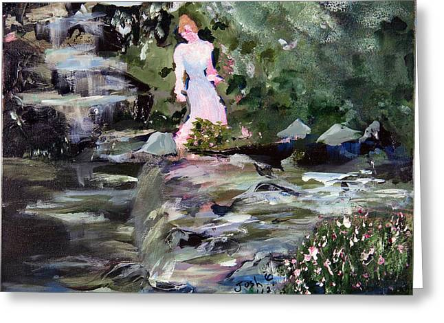 Woman By The Water Greeting Card by Joshua Englehaupt