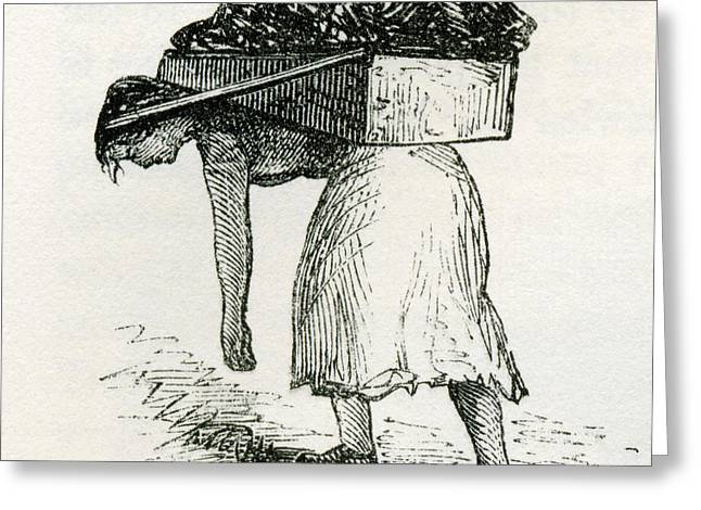 Working Conditions Greeting Cards - Woman Carrying Coal To Surface In East Greeting Card by Ken Welsh