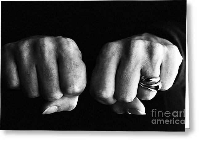 Clenched Fist Greeting Cards - Woman clenching two hands into fists in a fit of aggression Greeting Card by Sami Sarkis