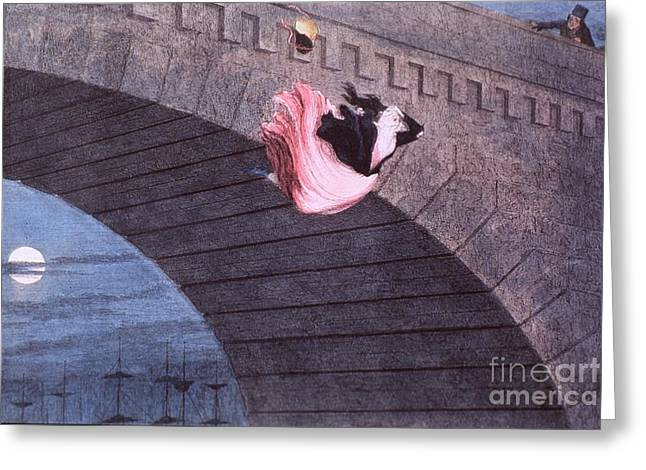 Cruikshank Greeting Cards - Woman committing suicide by jumping off of a bridge Greeting Card by MotionAge Designs