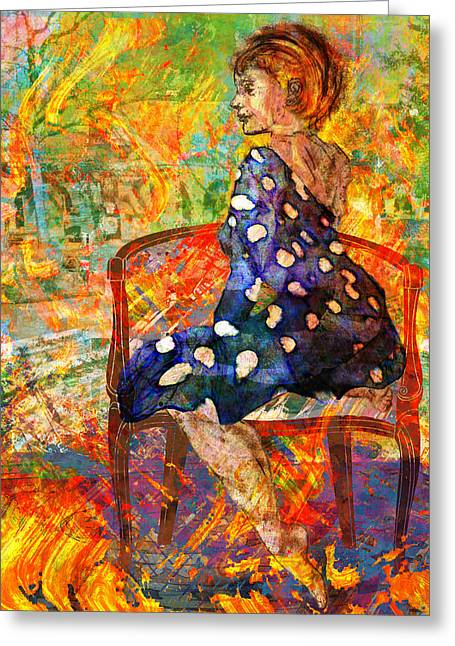 Mary Ogle Greeting Cards - Woman Contemplates Indian Summer Greeting Card by Mary Ogle