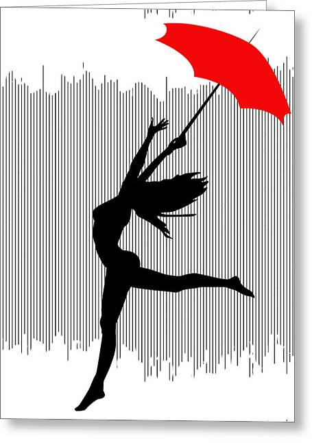 Woman Dancing In The Rain With Red Umbrella Greeting Card by Serena King