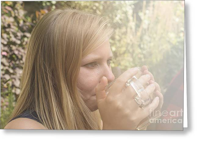 Satisfaction Greeting Cards - Woman drinking tea  Greeting Card by Patricia Hofmeester
