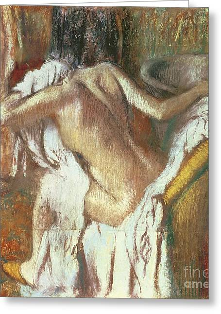 Feminine Pastels Greeting Cards - Woman drying herself Greeting Card by Edgar Degas