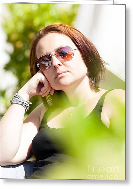 Human Greeting Cards - Woman enjoys a sunny day Greeting Card by Wolfgang Steiner