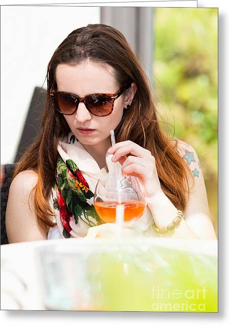 Lifestyle Greeting Cards - Woman enjoys her drink Greeting Card by Wolfgang Steiner