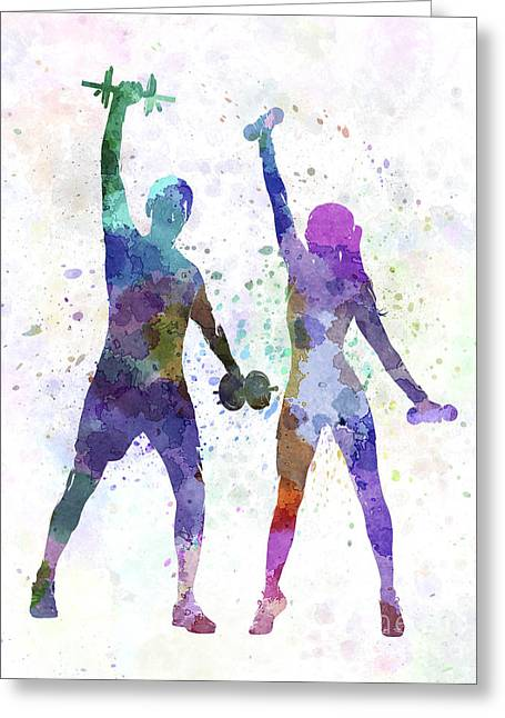 Woman Exercising With Man Coach Greeting Card by Pablo Romero