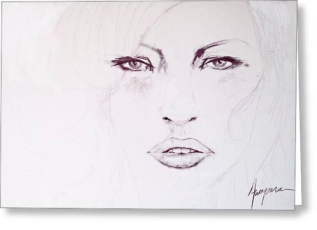Pencil On Canvas Greeting Cards - Woman Face Black and White Greeting Card by Patricia Awapara