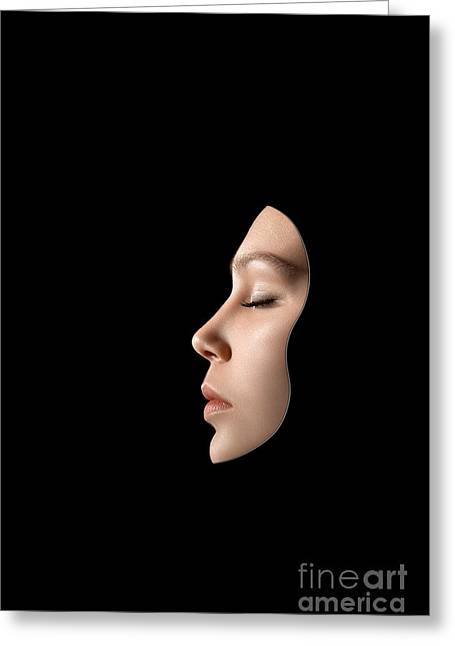 White Digital Art Greeting Cards - Woman Face Mask Greeting Card by Aleksey Tugolukov