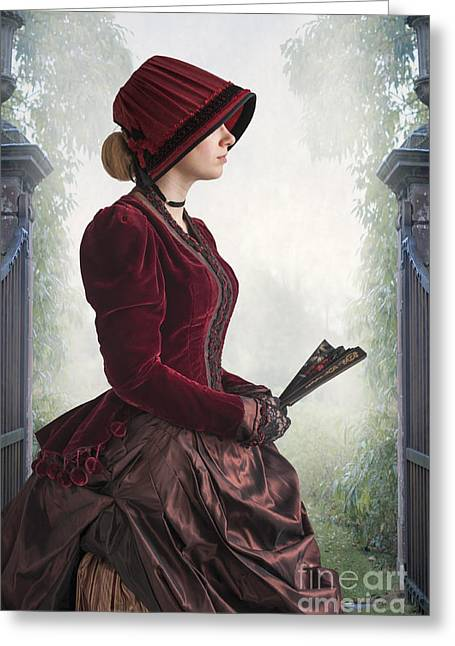 Satin Skirt Greeting Cards - Woman From The Late Victorian Period  Greeting Card by Lee Avison