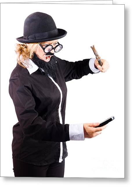 Cellphone Greeting Cards - Woman hitting her phone with hammer Greeting Card by Ryan Jorgensen