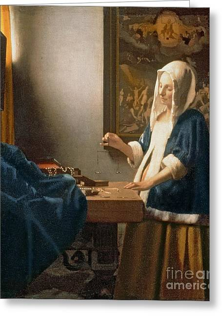 Covered Head Paintings Greeting Cards - Woman Holding a Balance Greeting Card by Jan Vermeer