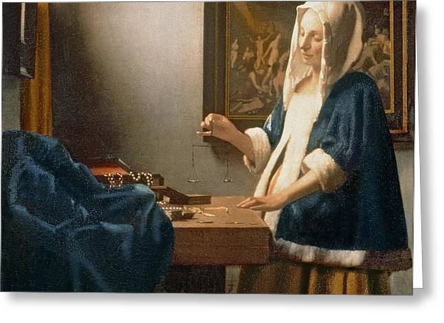 Woman Holding a Balance Greeting Card by Jan Vermeer