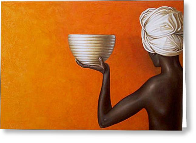 Yellow Ochre Greeting Cards - Woman holding a bowl Greeting Card by Horacio Cardozo