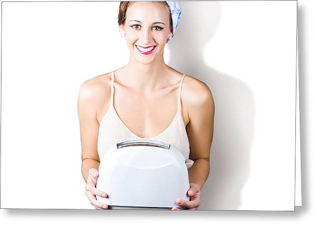 Toaster Photographs Greeting Cards - Woman holding toaster Greeting Card by Ryan Jorgensen
