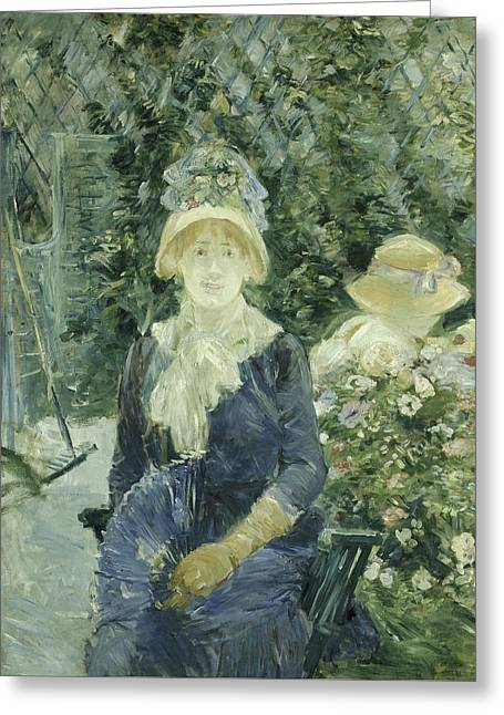 Woman In A Garden Greeting Card by Berthe Morisot