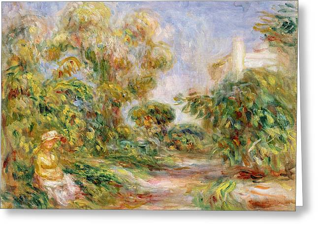 Sun Hat Greeting Cards - Woman in a Landscape Greeting Card by Renoir