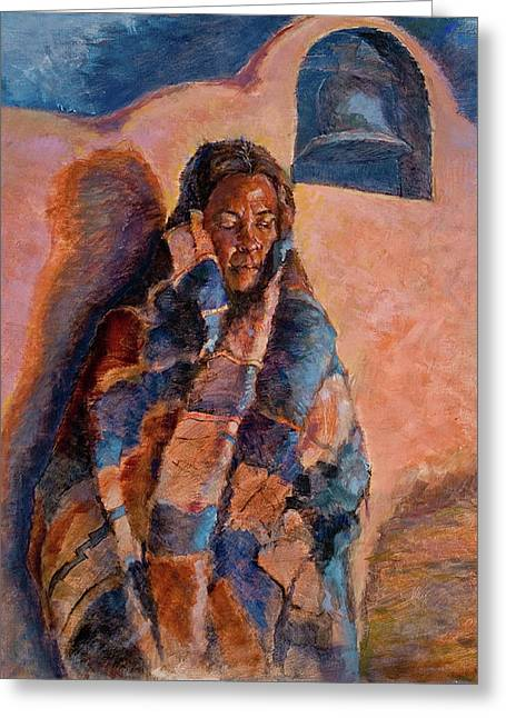 Figurative Pastels Greeting Cards - Woman in a Serape Greeting Card by Ellen Dreibelbis