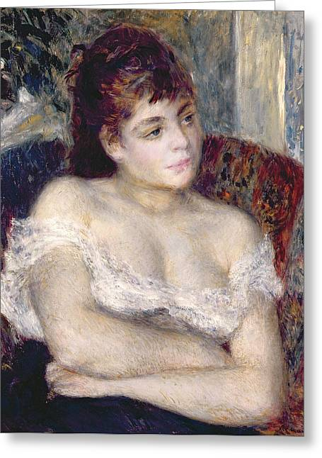 Chest Paintings Greeting Cards - Woman in an Armchair Greeting Card by Pierre Auguste Renoir