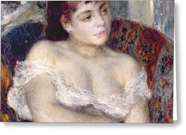 Woman in an Armchair Greeting Card by Pierre Auguste Renoir