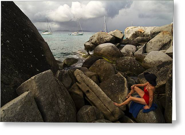 Virgin Gorda Greeting Cards - Woman In Bathing Suit Sitting Greeting Card by Todd Gipstein