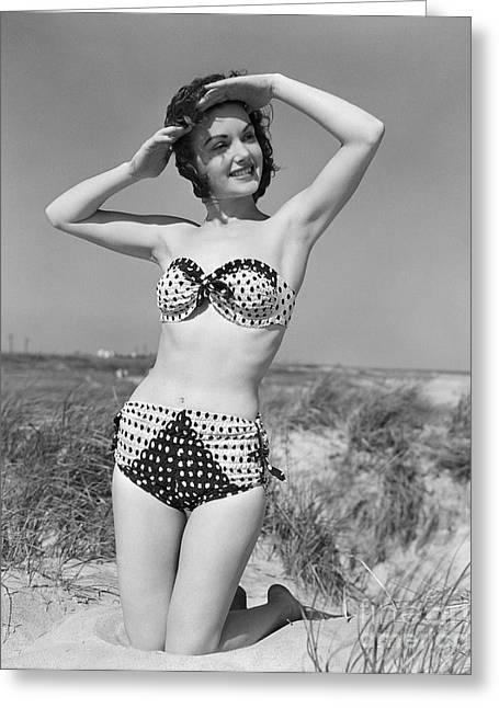 Woman In Bikini, C.1950s Greeting Card by H. Armstrong Roberts/ClassicStock