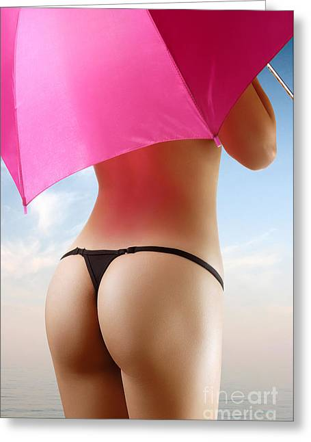 Tranquil Scene Escapism Greeting Cards - Woman in Bikini with a Pink Umbrella Greeting Card by Oleksiy Maksymenko