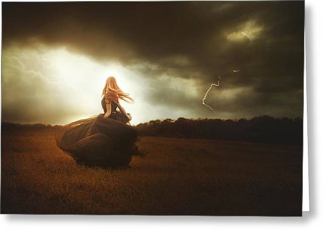 Tj Greeting Cards - Woman In Black Greeting Card by TJ Drysdale