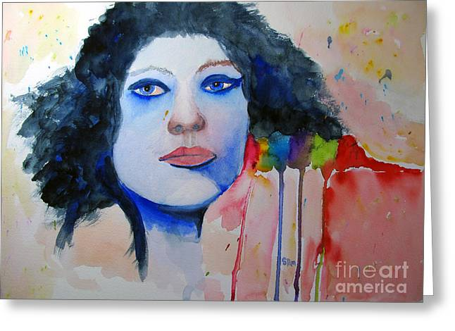 Gray Hair Greeting Cards - Woman in Blue Greeting Card by Sandy McIntire