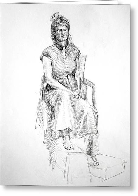 Inner World Drawings Greeting Cards - Woman in Dress Greeting Card by Mark Johnson