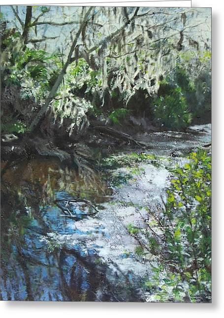 Reflection In Water Mixed Media Greeting Cards - Woman in Egan Creek Greeting Card by Rachelle Kaufman