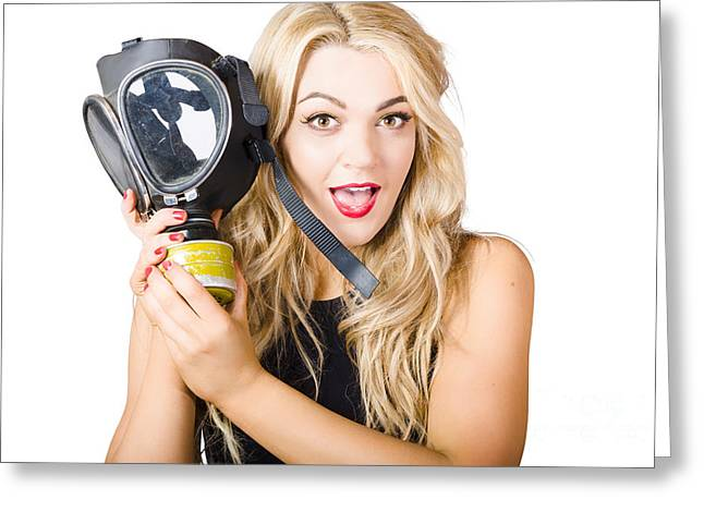 Nuclear Warfare Greeting Cards - Woman in fear holding gas mask on white background Greeting Card by Ryan Jorgensen