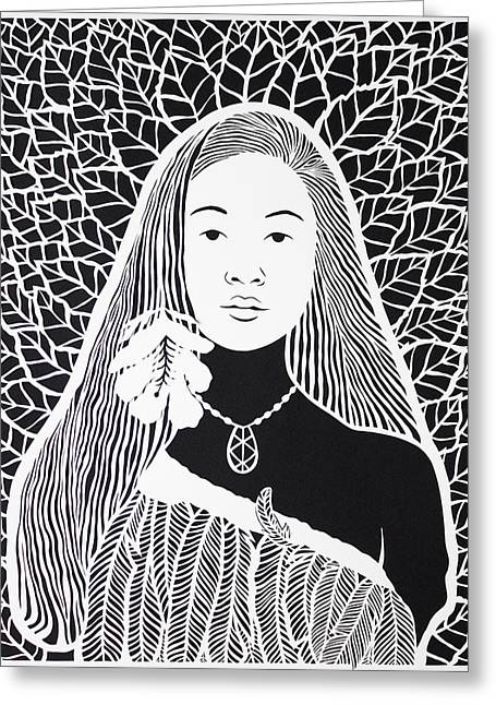 Intricate Cuts Greeting Cards - Woman in feathers Greeting Card by Karla Sosa