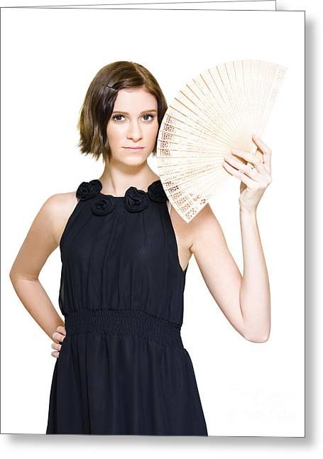 Evening Dress Greeting Cards - Woman In Formal Dress Holding Oriental Fan Greeting Card by Ryan Jorgensen