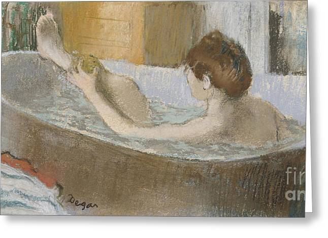 Pastel Greeting Card featuring the pastel Woman In Her Bath by Edgar Degas