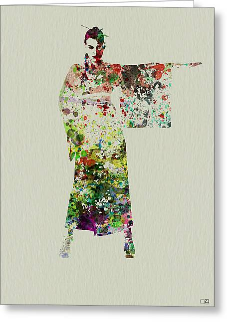 Dancing Girl Greeting Cards - Woman in Kimono Greeting Card by Naxart Studio