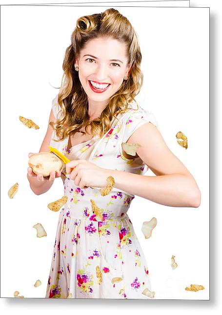 Floating Girl Greeting Cards - Woman in kitchen preparing vegetables. Good cook Greeting Card by Ryan Jorgensen