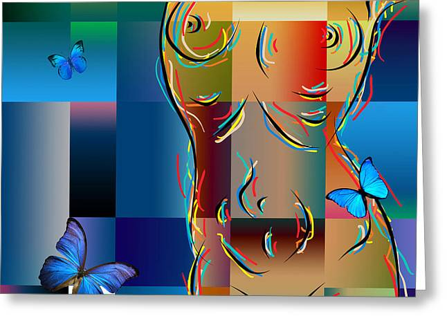 Whit Greeting Cards - Woman In Nude Collage  Greeting Card by Mark Ashkenazi