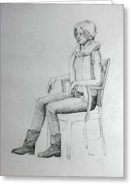 Inner World Drawings Greeting Cards - Woman in Scarf Greeting Card by Mark Johnson