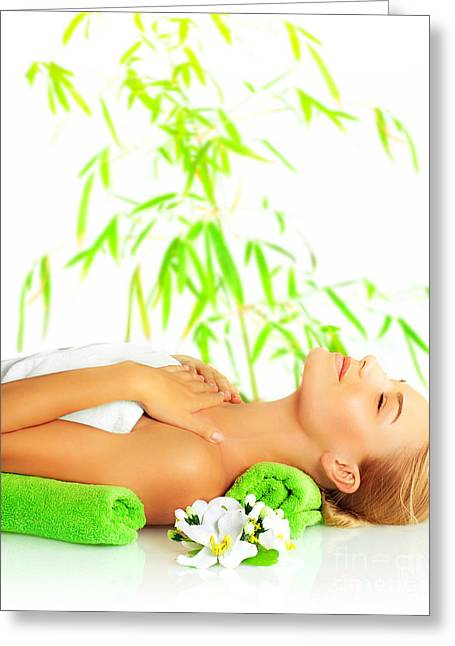 Treatment Greeting Cards - Woman in spa salon Greeting Card by Anna Omelchenko