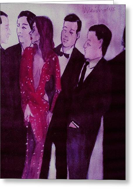 Woman In A Dress Greeting Cards - Woman in Sparkling Red Dress With Men  Greeting Card by Harry WEISBURD