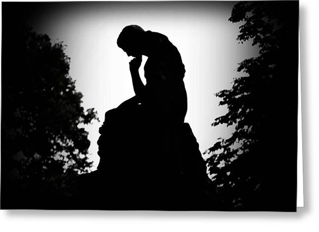 Philadelphia Digital Greeting Cards - Woman in Thought Greeting Card by Bill Cannon